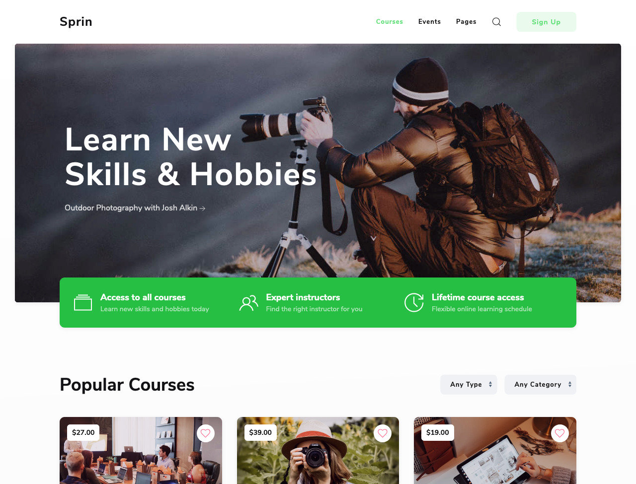 Sprin Courses & Events Template